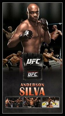 Anderson Silva Personally Hand Signed Ufc Glove Mma With Backdrop Champion