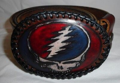GRATEFUL DEAD Leather Belt & Buckle TRUNK LTD Steal Your Face Handmade In Italy