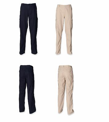 Mens Cotton Gents Cargo Front Row Work Leisure Trousers Navy Stone FR620