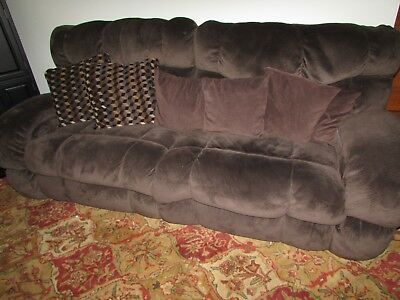 Raymour Flanigan Dual Side Electric Reclining Sofa Couch Brown