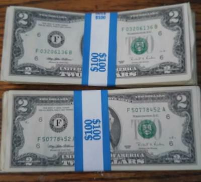 Us Currency Lot Of 10 2 Bills Random From Chase Bank