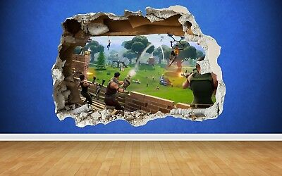Amazing Fortnite 3D Effect Smashed Wall Sticker Self-Adhesive Art Transfer No 2