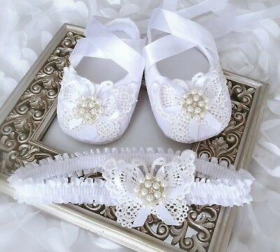 Baby Girl White Christening Baptism Shoes Crochet Butterfly Pearl Rhinestone Set
