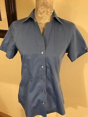 dbf2706af FOXCROFT Blue Non-Iron Fitted Short Sleeve Button Down Shirt Sz 4 (E1)