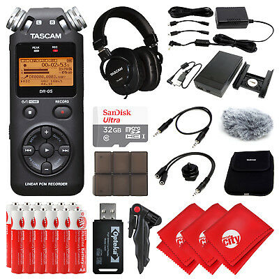 TASCAM Portable Digital Audio Recorder w/ Headphone and Accessory Bundle (DR-05)
