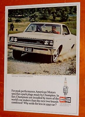 1967 Amc Rebel Sst Coupe For Champion Plugs Ad / Vintage American Motors 60S