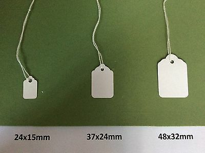 White Strung Tags Tie On Price Tickets Labels Wedding Card Strings Small Retail