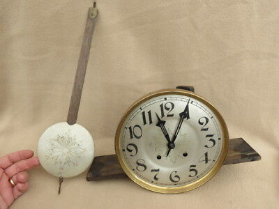 Vintage Lfs Striking Wall Clock Movement And Pendulum For Spares Repair