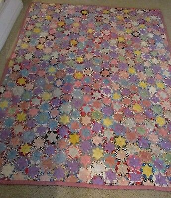 """Vintage Patchwork Quilt Field of 6 Point Star 30's 40's Hand Stitched 78"""" x 60"""""""