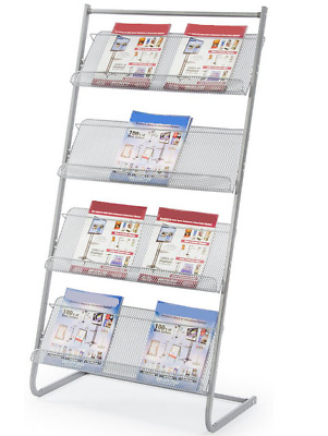 Durable Steel 4 Tier Wire Mesh Magazine Literature Display Stand