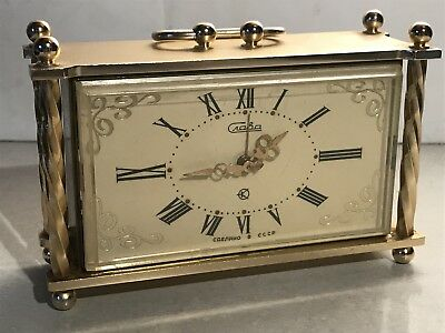 Vintage Russian Mantle clock Gold Metal Made in Russia Craba Spares Repair
