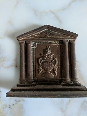 Antique Single Book End Cast Iron Greek Temple Columns and Urn with Flowers