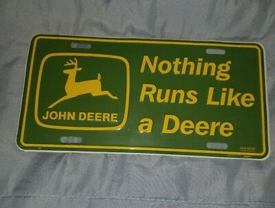 Vintage John Deere Embossed Metal License Plate Tag Nothing Runs Like A Deere