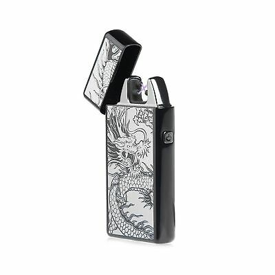 Dual Arc Plasma Lighter USB Rechargeable Windproof Flameless Tesla Electric L...