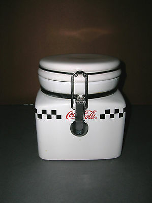 "Ceramic Coca Cola Canister Gibson 2002 Checkered Flag Design 5 1/2"" Locking Lid"