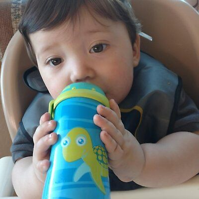 Baby Blue Turtle Silicone Spout Active Cup 10 Oz Sippy Cups Mugs Bottle Toddler