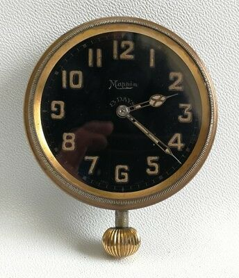 Vtg Mappin Art Deco Car Dashboard Black Ceramic Face 8 Day Goliath Clock Watch
