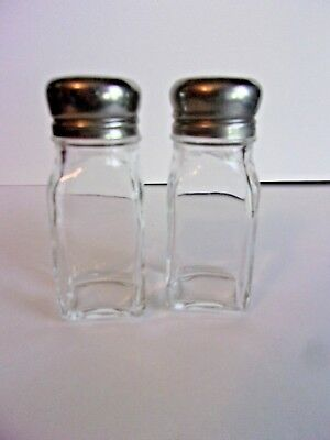 Vintage Clear Glass Square Column Salt and Pepper Shakers Stainless Steel