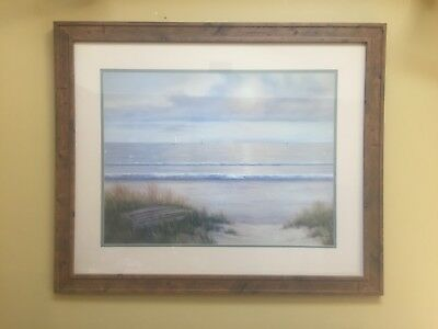 "DIANE ROMANELLO ""Ocean Surf"" Large Lithograph Art Print Painting ~ Framed Signed"