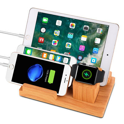 Bamboo 4 Port Charging Dock Stand Station Charger Holder For Apple Watch iPhone