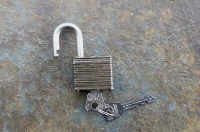 Vintage Brass & Steel Master Lock Padlock & Original Keys  # 12  Made in the USA