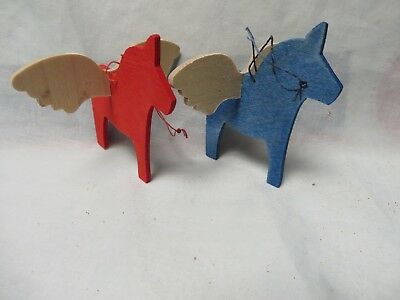2 Vintage Swedish Dala Wood Horse With Wings,hanging.hand Crafted,christmas