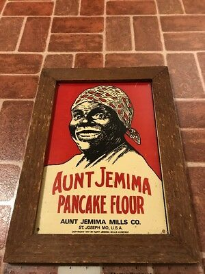 Antique Aunt Jemima Mills 1917 Pancake Flour Tin Ad Sign With Rustic Wood Frame