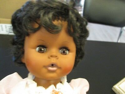"""VINTAGE EEGEE~13"""" AFRICAN AMERICAN DOLL with BLACK SOFT CURLS and CLOTHES"""