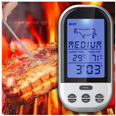 Wireless LCD Remote Thermometer For BBQ Grill Meat Kitchen Oven Food Cook Meter@