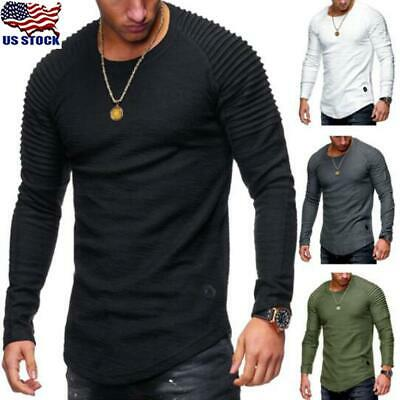 Thermal Men Slim Fit O Neck Long Sleeve Muscle Tee T-shirt Casual Tops Blouse US