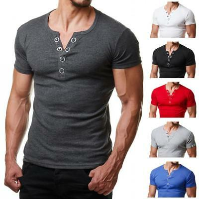 Mens Slim Fit Henley Shirt V Neck Short Sleeve Muscle T-shirt Casual Tops Blouse