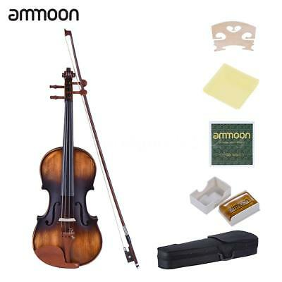 ammoon 3/4 Size Violin Matte-Antique Spruce Top Jujube Wood Parts(Peg and I5O0