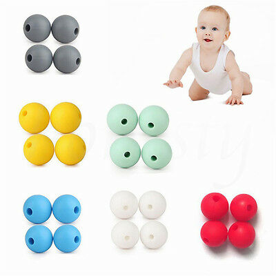 5pcs BPA-Free Safety Silicone Baby Teether Mom DIY Necklace Bracelet Beads