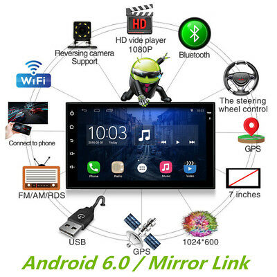"""7"""" 2 Din Car Stereo Radio Player GPS Android 6.0 Bluetooth WIFI DVR TMPS OBD2 1x"""