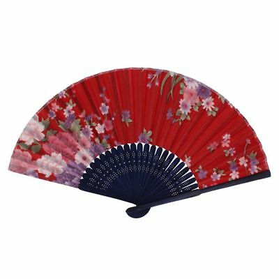 Chinese Style Floral Pattern Summer Folding Hand Fan Red, Pink, Blue, Green I1C6