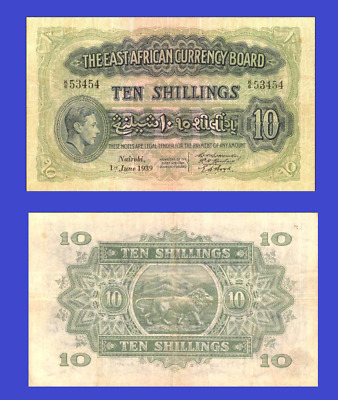EAST AFRICA 10 SHILLING 1939 UNC - Reproduction