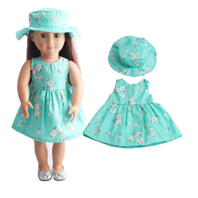 Holiday Doll Summer Blue Skirt Dress + Hat for 18inch Doll Toy Clothes