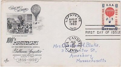 (USQ-29) 1959 USA 7c Balloon Jupiter airmail anni FDC used (AD)