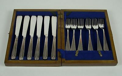Rare British BRUFORD & HARDY 12 Pc Knife & Fork Boxed Set  Silverplate  VGC