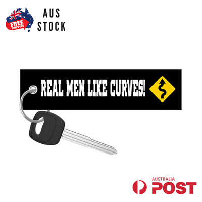 Real Men Like Curves Jet Tag Keychain Key Ring Aus Stock Motoloot