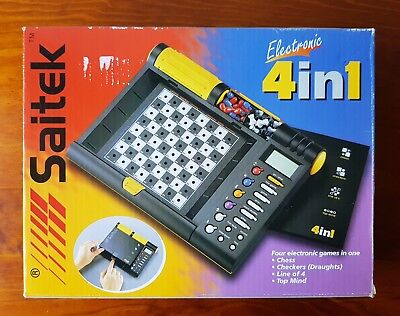 1999 Saitek 4 Electronic Games in 1 Chess Checkers Line Of 4 Top Mind Computer