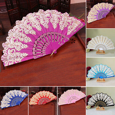 Retro Chinese Style Dance Wedding Party Lace Silk Folding Hand Held Flower Fan