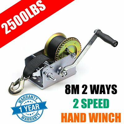 2500LBS Hand Winch Synthetic Strap 2-Speed Manual Car Boat Trailer 4WD