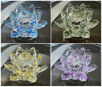 New 13 Cm Crystal Lotus Flower Ornament With Gift Box  Home Decor Gift Item