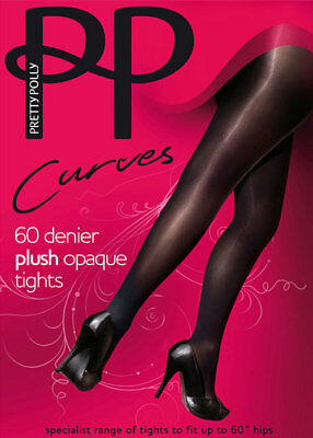 Charcoal or Burgundy S-XL Pretty Polly 3D Opaque Tights 60 Denier  Black Navy