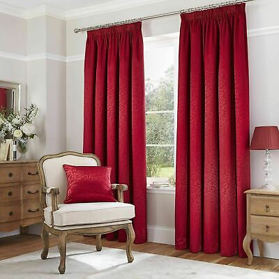 CL Home Thermal Leaf Jacquard Pencil Pleat Lined Curtains Pair # 50% OFF RRP #
