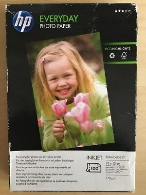 HP Everyday Photo Paper Semi-Gloss 100 sheets 10x15mm in size *Free Shipping*