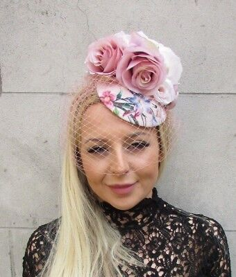 Blush Nude Light Pink Rose Birdcage Veil Flower Hair Fascinator Hat Races 5780