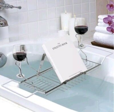 BATH BOOK HOLDER Candle Caddy Drink Bath Tub Tray Relax Bathtub ...