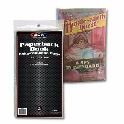 BCW Paperback Book Bags Pack of 100 Safe Storage Poly Holders Acid Fast Free S&h